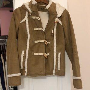 Anthropologie suede fur lined coat!